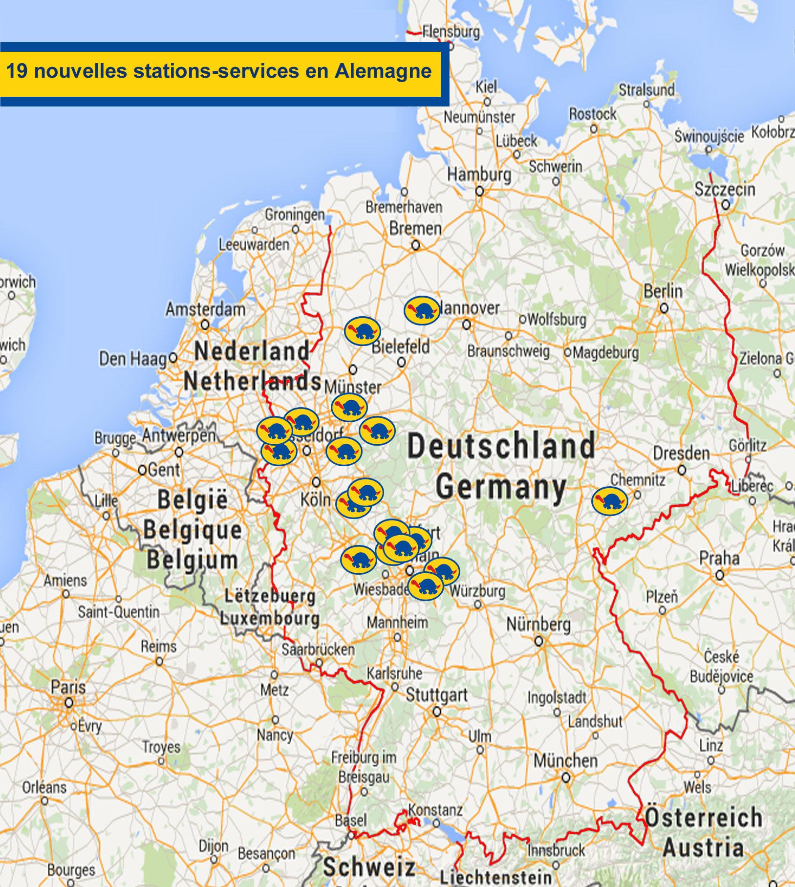 Carte Allemagne Et Hollande.Allemagne 19 Nouvelles Stations Services Onturtle